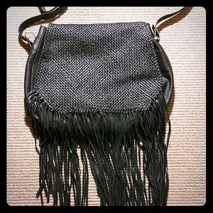 Zara Leather Messenger Bag with Fringe