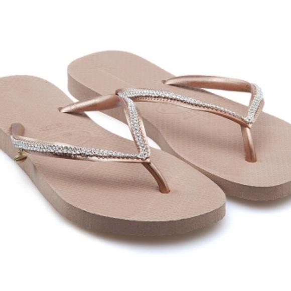 db75d9c8d563b Havaianas Shoes   Slim Crystal Mesh Flip Flops   Poshmark