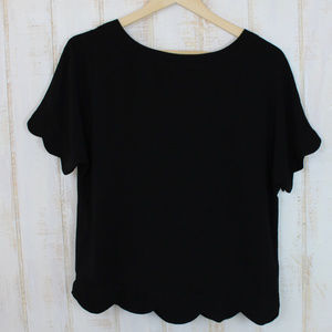 SALE❕Black Scalloped Blouse