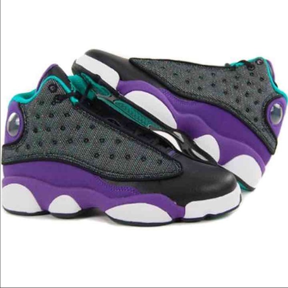 buy online 79178 38af2 Jordan Shoes - Nike Air Jordan 13 (GS) Black Teal Grape