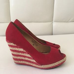 Red Espadrille Wedges