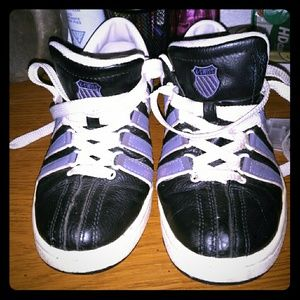 K-Swiss Shoes - Size 7.5 Black w/ Purple Stripes K-Swiss Sneakers