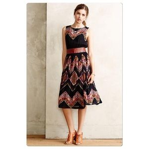 Anthropologie Patchworked Chevron Midi Dress NWT