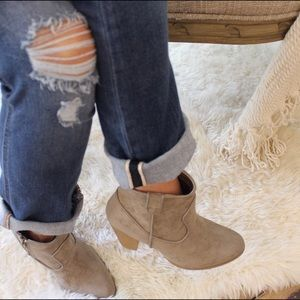 RESTOCKED- Taupe suede bootie