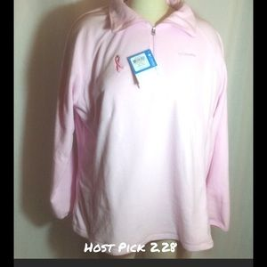NWT Columbia Fleece Pink Ribbon Fleece 1/2 Zip 1X