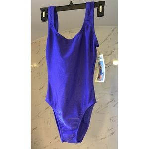 90s Vintage Purple Ribbed One Piece Swimsuit