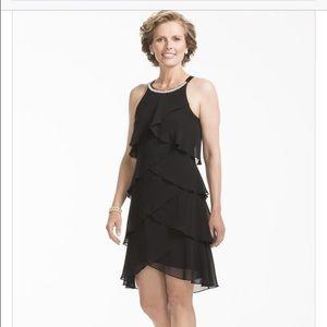 David's Bridal Dresses & Skirts - BN Black tiered dress w/ pearl beaded neckline