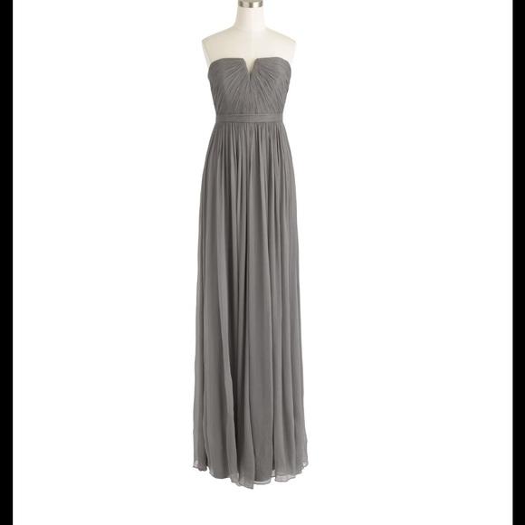 352208c1a6453 New $298 Jcrew grey Nadia chiffon bridesmaid dress NWT