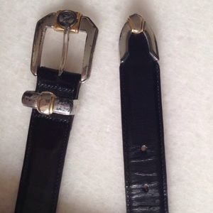 Onyx Accessories - Black Leather Belt with Sterling Silver Buckle!!