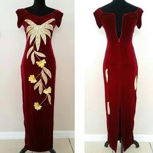 Dresses & Skirts - SALE! Velvet sequin embroidered Vintage Gown