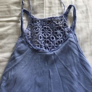 High neck purple top with lace