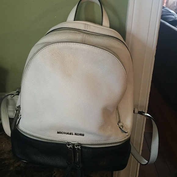 5bb151f376a6 Michael Kors Bags | Mk Backpack White And Black Leather | Poshmark