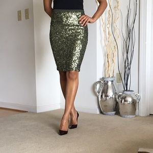 Olive green sequin pencil skirt