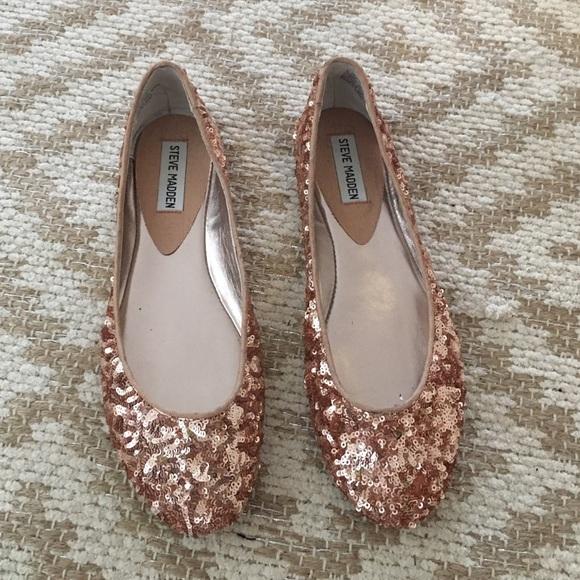 ea889d0ea91 Steve Madden Rose Gold Sequin Ballet Flats 8.5