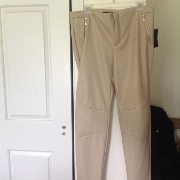 17206b09bf9e4 Zara Pants | Nwt Faux Leather Cream Size Xl | Poshmark