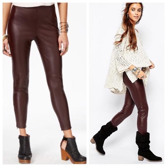 ecda06977d8fc Free People Pants - NWOT Free People vegan leather leggings in oxblood