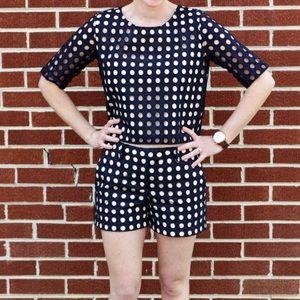 Ann Taylor navy & tan polka dot crop top sz xs