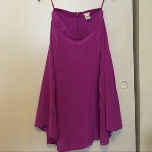 J.Crew 100% silk midi skirt in fuchsia