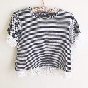Topshop Tops - Topshop Striped Lace Crop Top