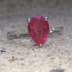 Jewelry - Lab-Created Sterling Silver Ruby Ring Size 9