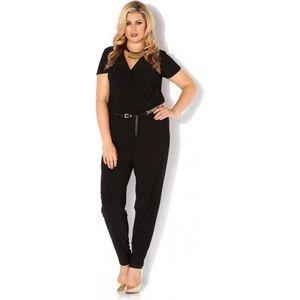 Pink Clove Pants - Black Wrap Front JumpSuit Romper Plus Size