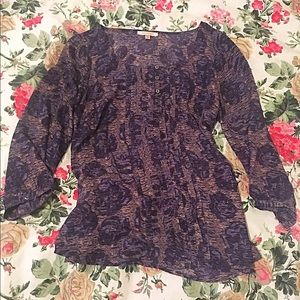 Skies are Blue Purple Print Blouse with Ruffle