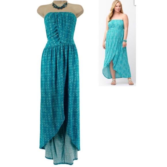 ae445bf734a Lane Bryant Dresses   Skirts - 26 28 4X TEAL TULIP HEM MAXI DRESS Plus