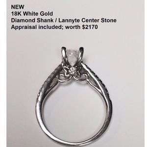 NEW 18K white gold 20-diamond ring with appraisal