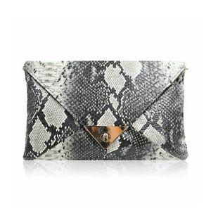 Snakeskin Print Envelope Clutch Handbag