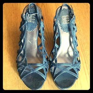 "City Streets Shoes - Black Wedge Heels sz 8 slingback 4"" heel"