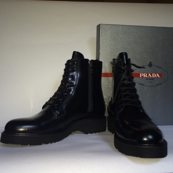 b39eea45 PRADA Women's Black patent leather combat boot NWT