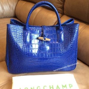 Longchamp Roseau Croco satchel Blue New