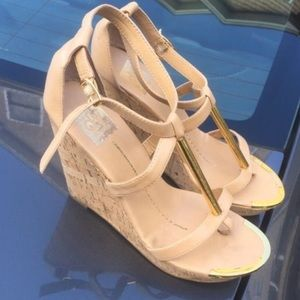 Leather Wedges with gold trim