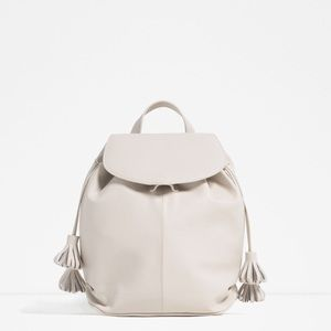 Zara backpack with tassel white