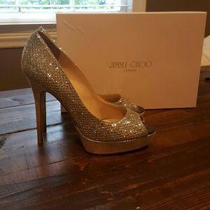 Jimmy Choo  Crown Champagne Glitter Fabric