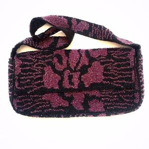 Handbags - Purple and black beaded bag