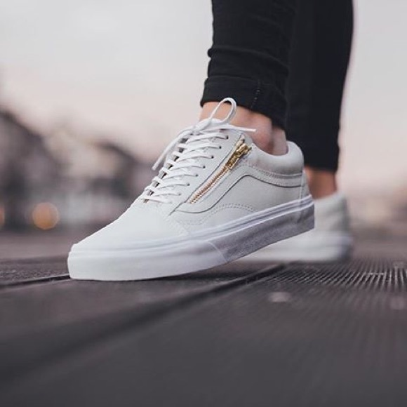 white leather vans old skool