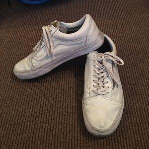 Furgonetas De Cuero Vieja Escuela Zip Zapatos Blancos Y Oro 69dQ6