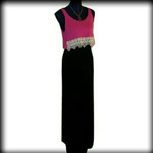 Pinc Premium Dresses & Skirts - FIRM-NWT Maternity M Popover Black Pink Maxi Dress
