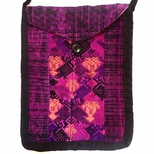 Handbags - Purple quilted fabric bag