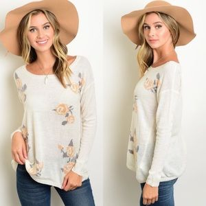 Boutique Sweaters - Ivory & Peach Floral Roses Lightweight Sweater