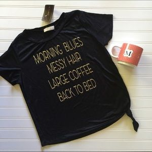 Tops - Large Coffee Messy Hair side knot tee! NWT