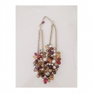 Colorful Layered Gem Bead Statement Necklace