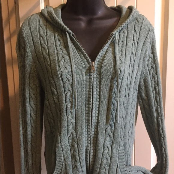 Sonoma Sweaters Sage Green Cable Knit Hooded Sweater Poshmark