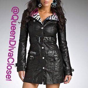 Dereon Jackets & Blazers - Rainbow zebra collar moto trench coat jacket