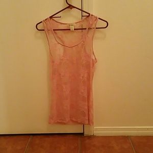 Tops - pink lace tank