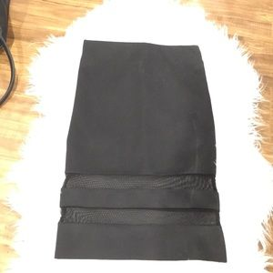 Black midi tight skirt with mesh trim