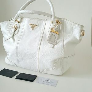 prada suede handbag - 51% off Prada Handbags - Prada Vitello Daino White Leather Bag ...