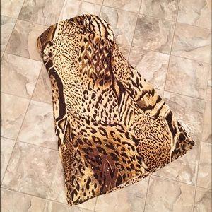 VINTAGE CACHE leopard print strapless dress