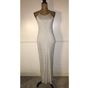 Vintage Dresses & Skirts - Vintage silver sparkly gown size small